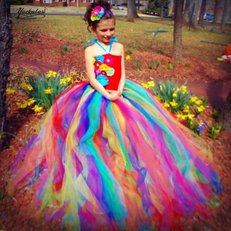 2018 NEW Candy Rainbow Flower Girls Tutu Dress for Birthday Photo Wedding Kids Halloween Christmas Costume