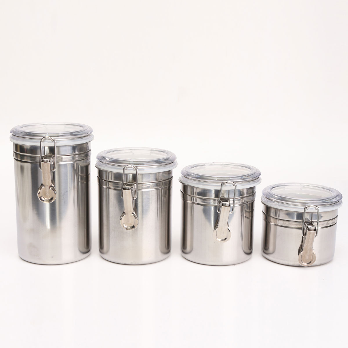 Stainless steel storage containers for kitchen - Kitchen Container Boxes 4 Size Metal Storage Food Bottles Sugar Tea Coffee Beans Canisters Snack Cans Tools In Storage Boxes Bins From Home Garden On