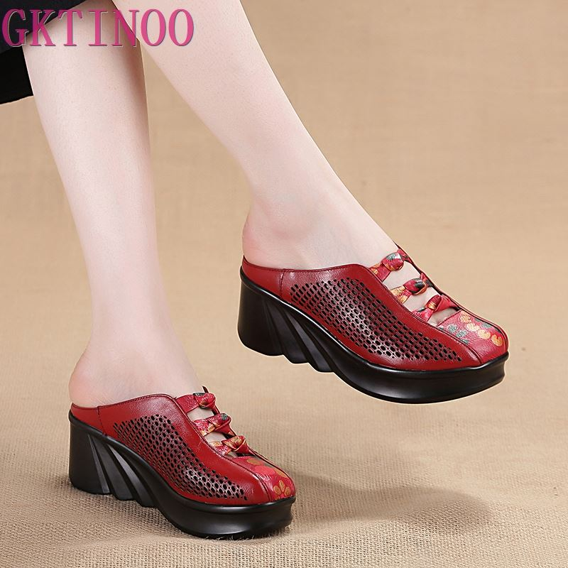 GKTINOO 2019 Fashion Cut-outs Women Shoes Slippers Summer Closed Toe Wedge Sandals Genuine Leather Lady Slides Shoes Woman