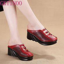 GKTINOO 2020 אופנה מגזרות נשים נעלי כפכפים קיץ סגור הבוהן טריז סנדלי עור אמיתי ליידי שקופיות נעלי אישה