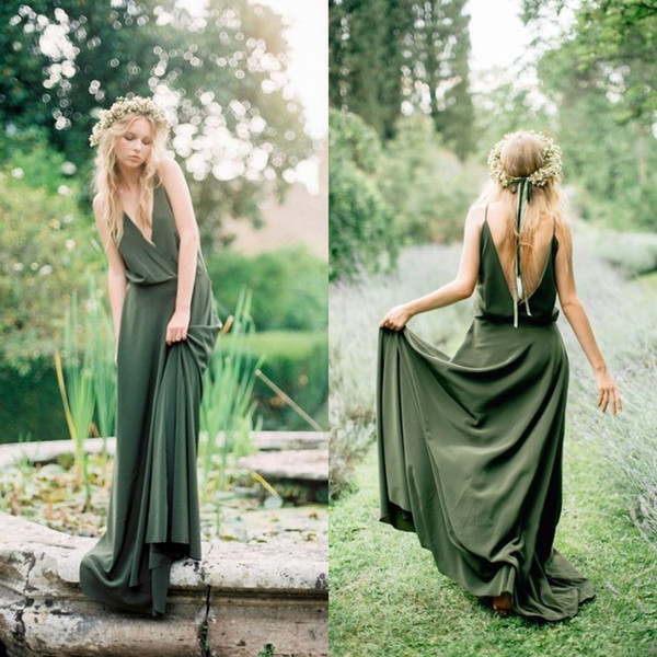 Bohemian Olive Green Chiffon Country   Bridesmaid     Dresses   2018 New Cheap Sexy Spaghetti Backless Beach Long Maid Of Honor Gowns