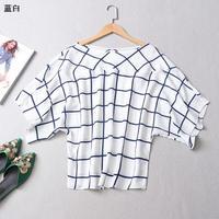 Top qualité vêtements en vente bleu blanc plaid manches chauve-souris tops casual femmes tops lâche T-shirt pour plein de dame discount