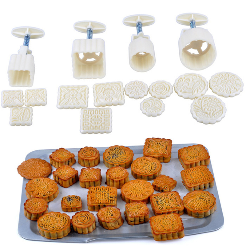 16pcs/set Reusable Moon Cake Molds Hand Pressure Square Round DIY Biscuits Moulds Cake Decorating Tools Cookie Cutters Set