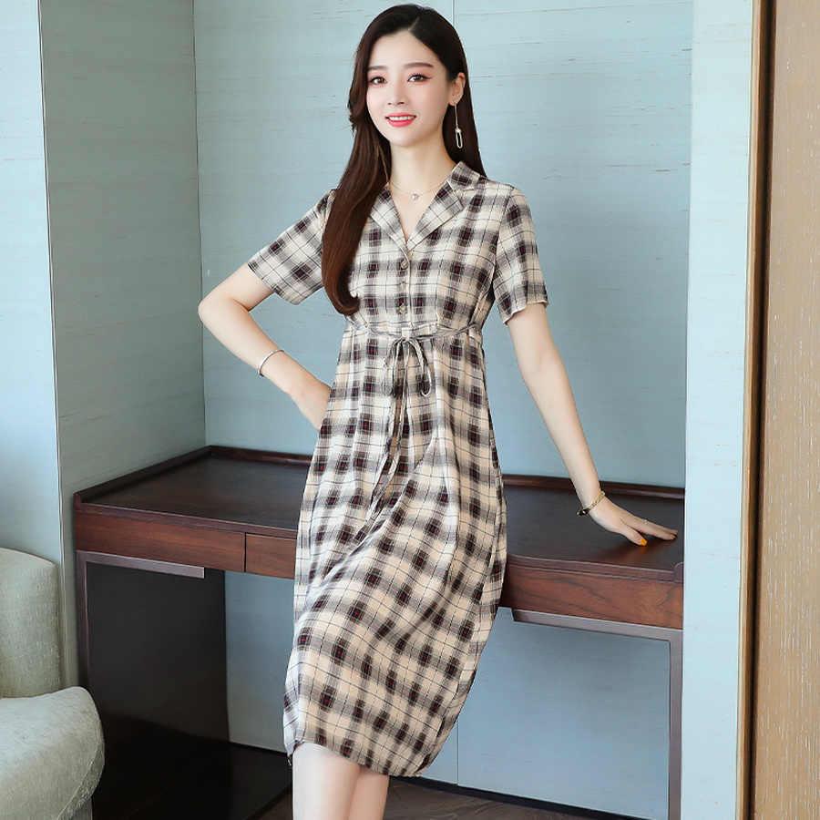 2019 элегантные клетчатые шикарные Бохо платья с коротким рукавом летние новые винтажные плюс размер пляжные миди сарафаны женские облегающие вечерние платья
