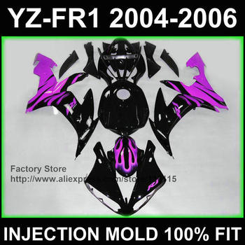 Burning purple flame   fairing kit for YAMAHA fairings YZF R1 2004 2005 2006 yzf r1 04 05 06 ABS Full injection