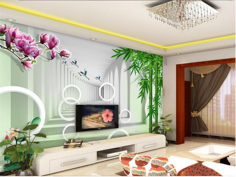 custom 3d photo wallpaper living room mural orchid bamboo scenery photo painting sofa TV background wall non-woven wall sticker 3d photo wallpaper custom room mural non woven sticker retro style bookcase bookshelf painting sofa tv background wall wallpaper