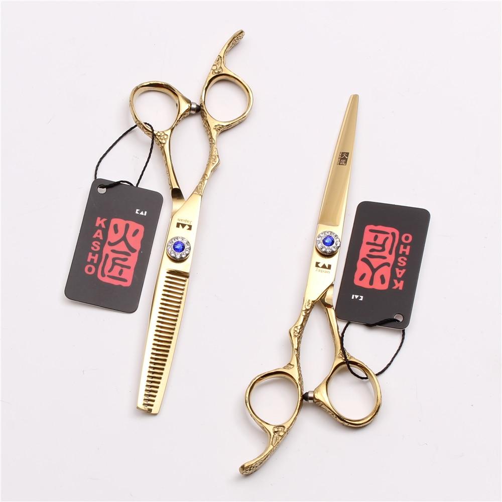 Left-Hand 6 17.5cm JP 440C Kasho Hairdressing Scissors Cutting Scissors Thinning Shears Hair Scissors Set Salon Equipment H8002