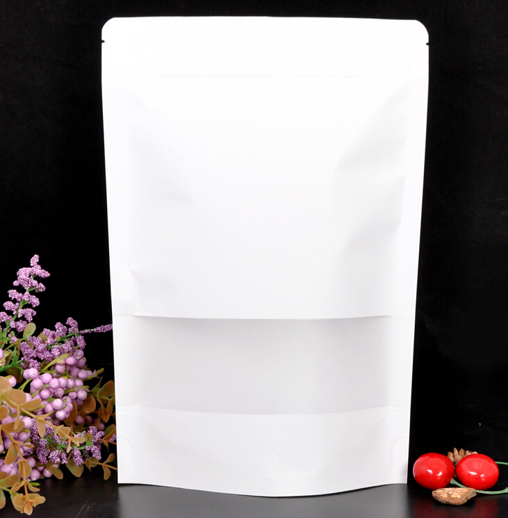 100pcs Lot White Kraft Paper Bags Stand Up Zipper Zip Lock