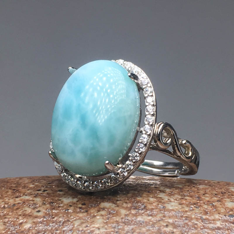 CSJ Natural larimar Ring Sterling 925 Silver Fine Jewelry Big Stone 12 14MM for Women and