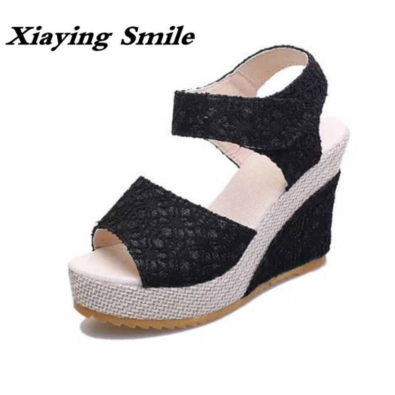 Xiaying Smile Woman Sandals Shoes Women Pumps Summer  Casual Platform Wedges Heels Lace Cloth Loop Thick Sole Rubber Women Shoes retro embroidery women wedges sandals summer style platform shoes woman casual thick high heels creepers slippers plus size 9