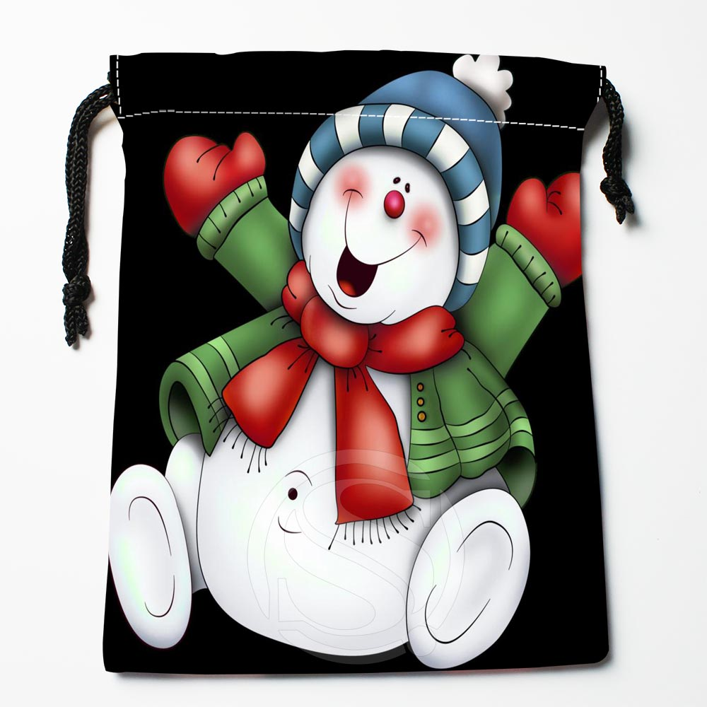 TF&111 New Christmas Snowman #!6 Custom Printed Receive Bag Bag Compression Type Drawstring Bags Size 18X22cm &812#111lz