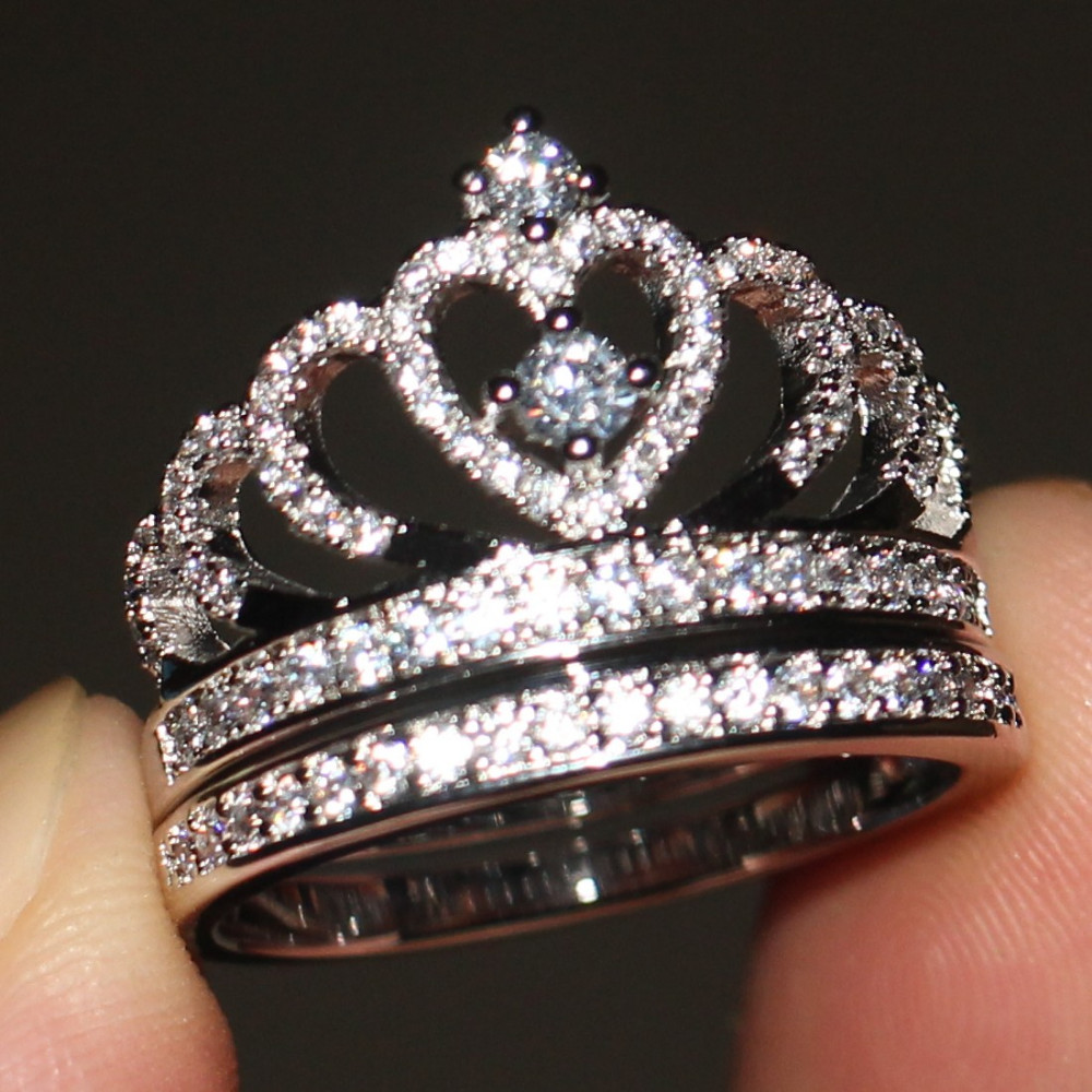Hot Sale Crown Jewelry Women Ring Set 5A Zircon Stone Cz