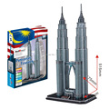 Paper Model Diy Petronas Twin Towers Enlighten blocks Construction Brick Educational Toys Children scale models Sets brinquedos
