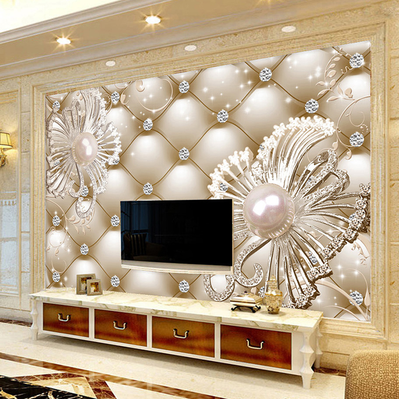 Custom Mural Wallpaper 3D Soft Pack Diamond Jewelry Flower Luxury Wall Paper Hotel Living Room TV Backdrop Murales De Pared 3D image