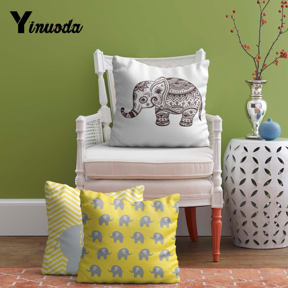 Yanuoda 18 Cushion Cover Personalised Elephant Baby Shower Gifts Modern Plain Sofa Throw Pillow Case Office Chair Cushion Cove