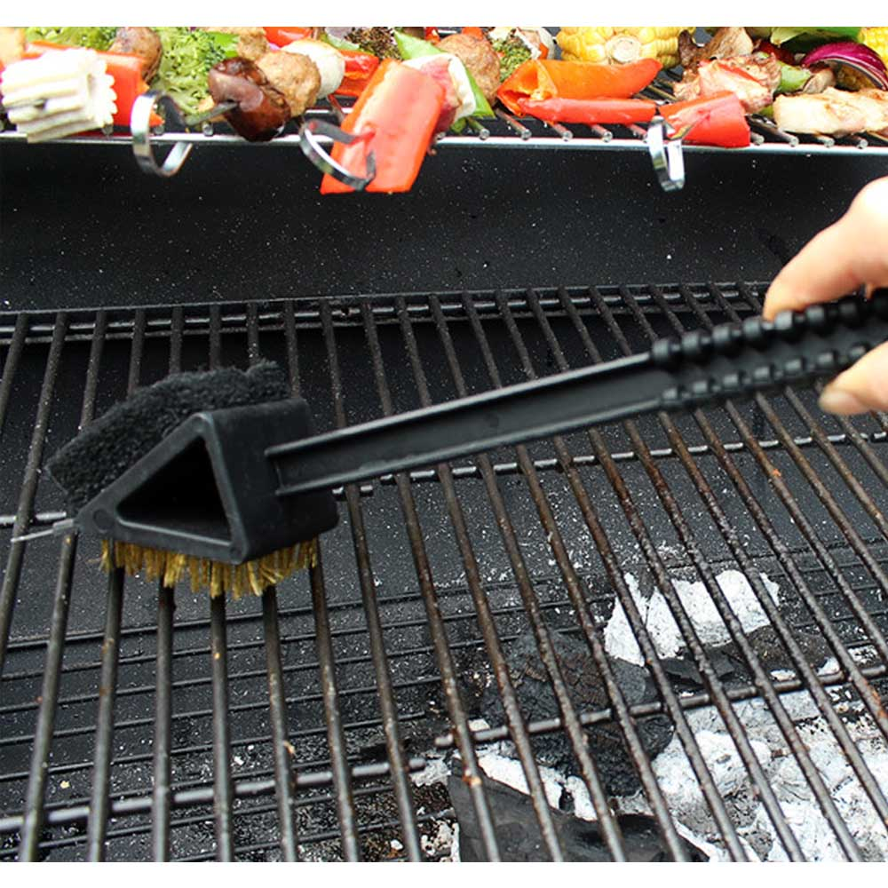 Behokic Portable Long Handle 3 in 1 BBQ Barbecue Grill Brush Stainless Steel Cleaning Brush Cleaner Tools Accessories
