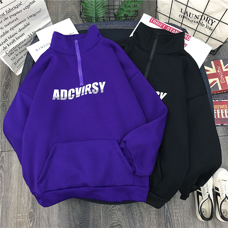 Winter Women Oversized Lounge-ready Style Hooded Cotton Sweatshirt Hoodie With Dropped Shoulders & Front Logo & Kangaroo Pockets(China)