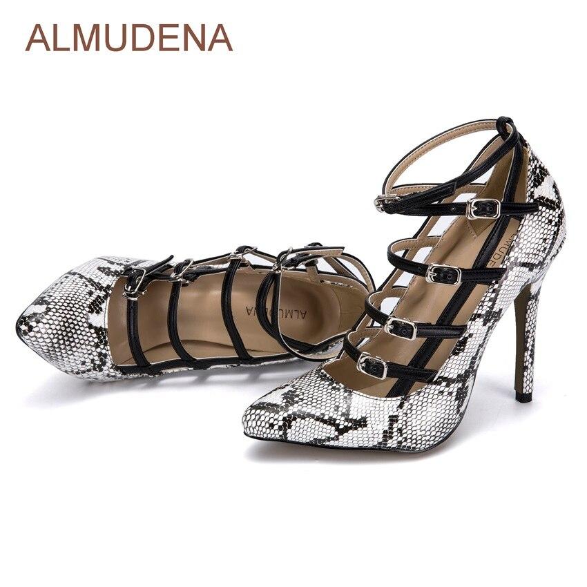 Schnalle Sexy Gedruckt Almudena Picture As Schlangenleder Patchwork Kreuz Grau Python Pumpen Riemchen Kleid Pumps Schuhe Stil Europäischen wg1q1PX