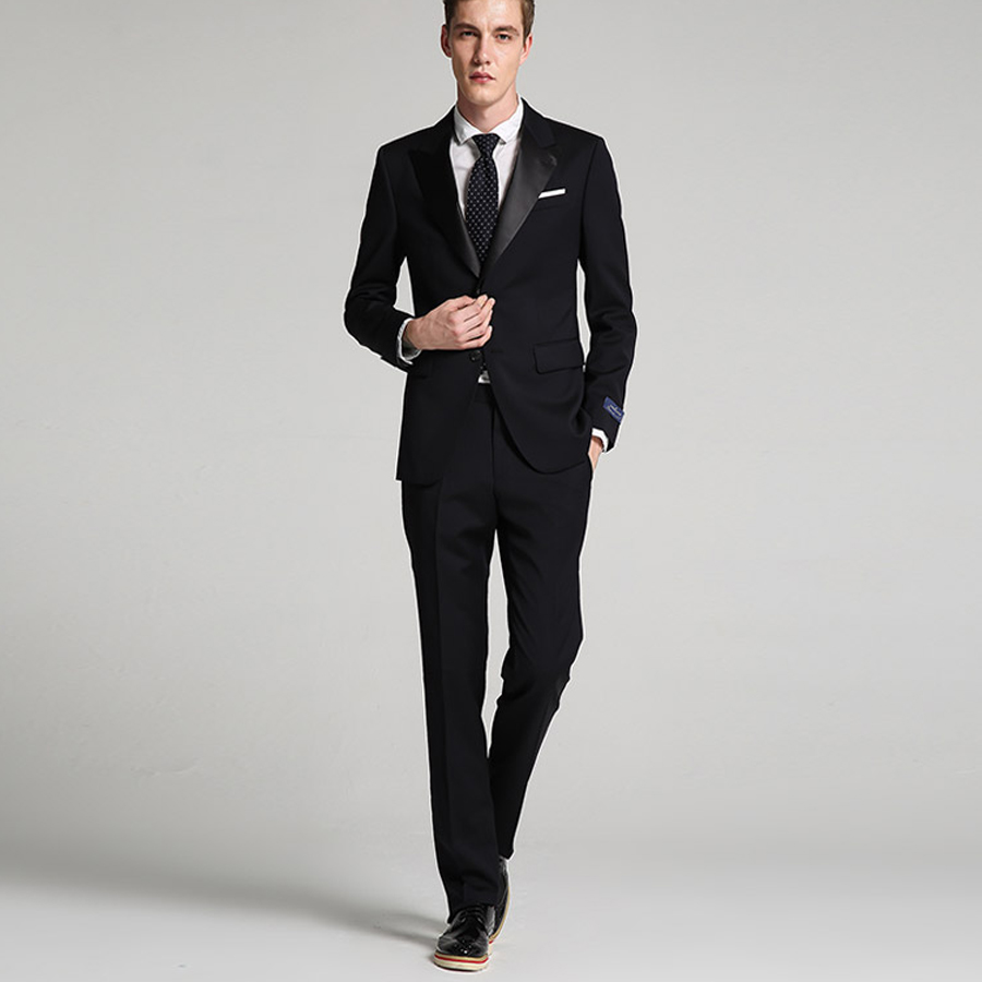 <font><b>Terno</b></font> Masculi Black Business Style <font><b>Suit</b></font> Slim Fit for <font><b>Men</b></font> Groom Tuxedos <font><b>Wedding</b></font> <font><b>Suit</b></font> 2 Pieces (Jacket+Pants) Peak Lapel <font><b>2018</b></font> New image