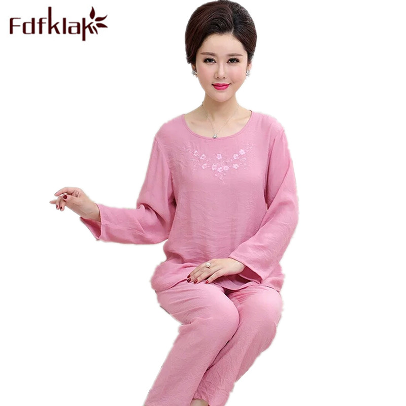 Fdfklak Spring Autumn Women Pijamas Cotton Home Clothing Homewear Women Sleepwear Sets Pyjama Plus Size XL XXL 3XL 4XL Q709