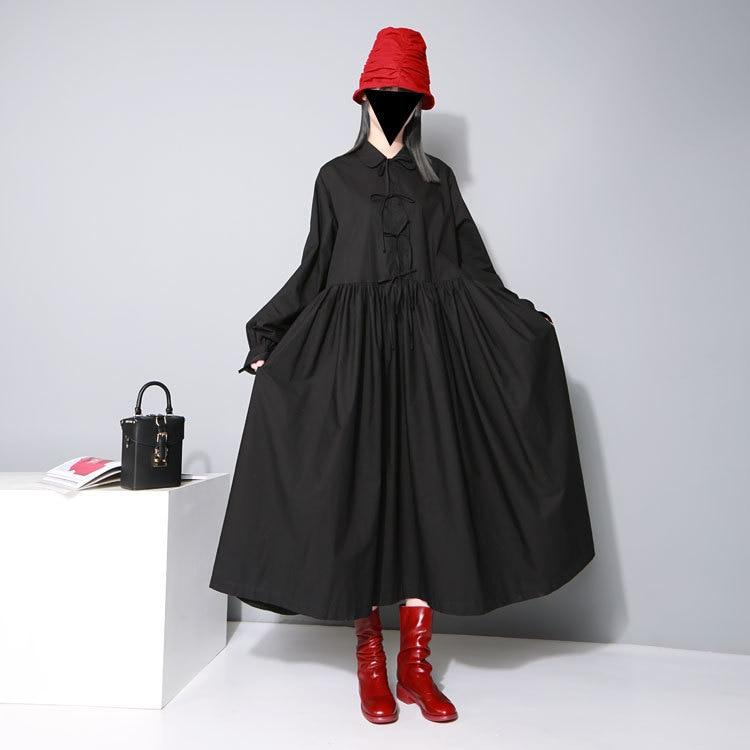 Plus Size Sale Peter Pan Collar Ukraine Vestido De Festa Women Free Shipping 2019 New Doll Shirt Tie Big Pendant Long Dress
