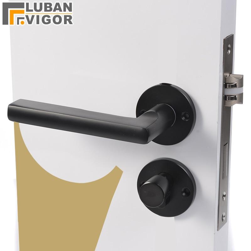 So beautiful Black space aluminum door handle Interior Bedroom door lock Split Silent door lock Door