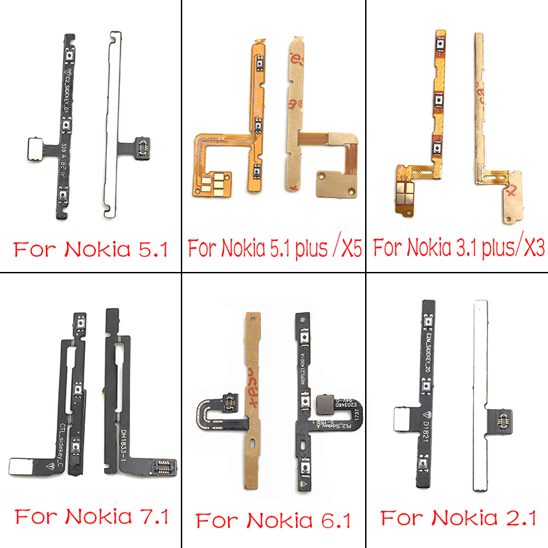 2 Pcs/lot New For Nokia 2 3 5 6 7 8 2.1 3.1 5.1 6.1 7.1 Plus Power On Off Volume Button Flex Cable Replacement Parts