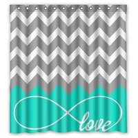 Love Infinity Forever Love Symbol Chevron Pattern Turquoise Grey White Waterproof Bathroom Fabric Shower Curtain Bathroom