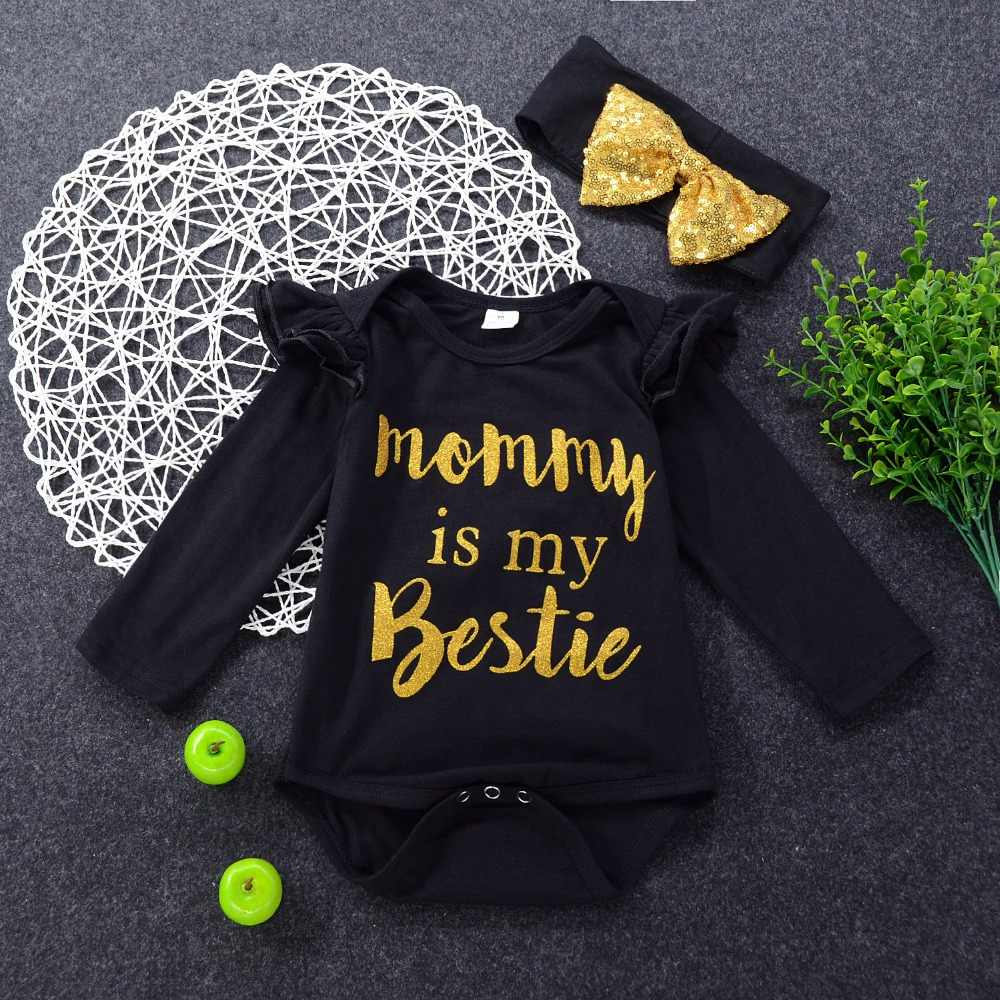Одежда для маленьких девочек Meisje, черный комбинезон с рукавами-бабочками, комбинезон с принтом «Mommy Bestie», повязка на голову, 2 предмета, одежда Bebe