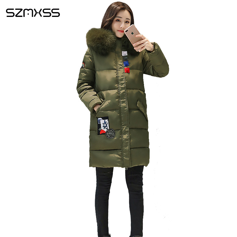 2018 new winter coat women Slim fashion patch pocket cotton Jacket high quality casual thick   parka   ropa mujer invierno