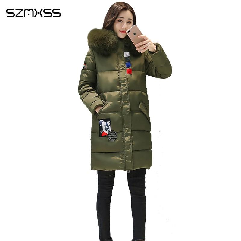2018 nouveau manteau d'hiver femmes Mince mode patch poche coton Veste haute qualité casual épais parka ropa mujer invierno