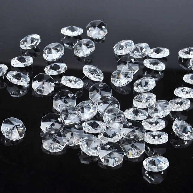 14mm Lamp Chandelier Parts Octagon Crystal Beads In 2 Hole Wedding Ornaments Suncatcher Diy Making Curtain