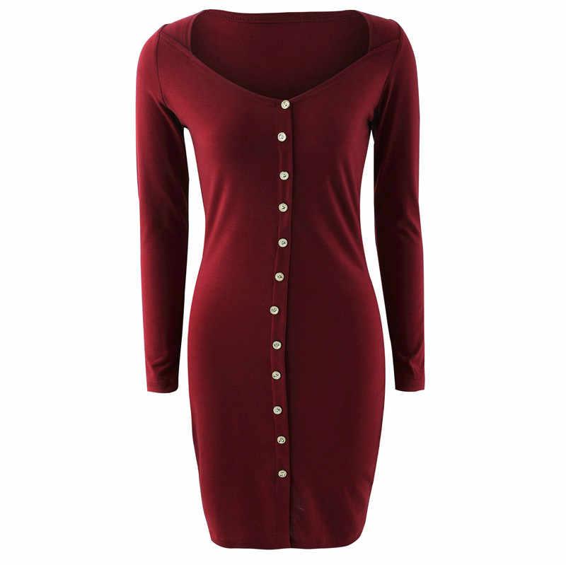 Vestido ajustado de mujer para Streetwear botón decoración cuello cuadrado manga larga sólido Mini vestido de moda para damas otoño lápiz vestido