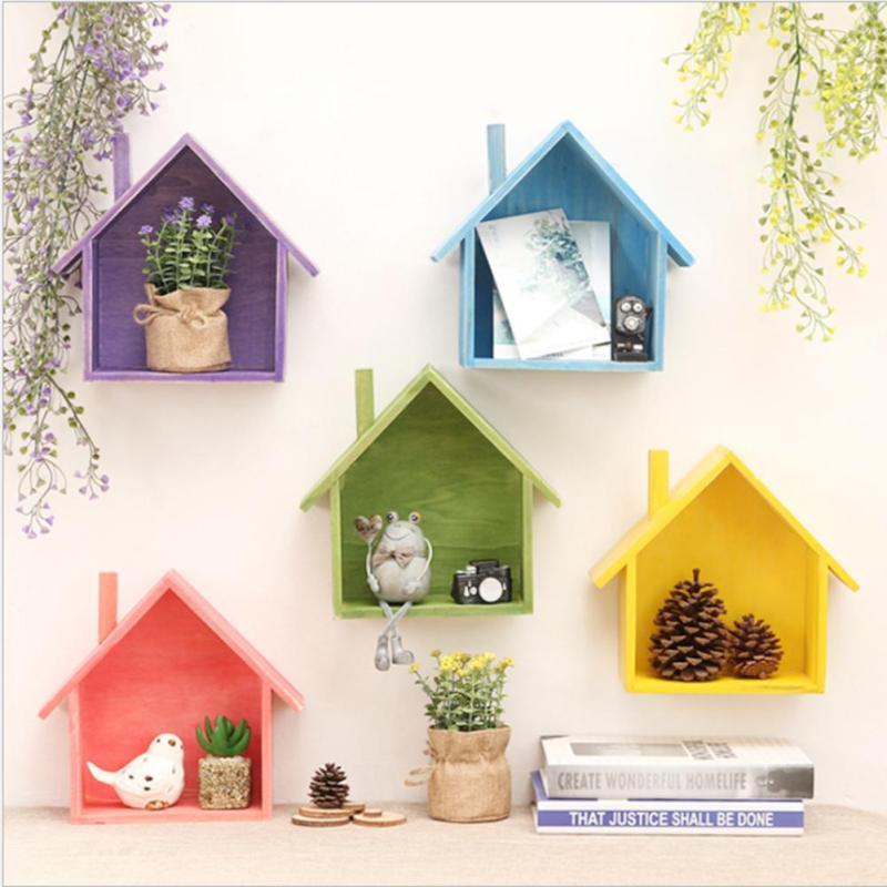 . Creative retro wooden wall shelves living room bedroom DIY wall