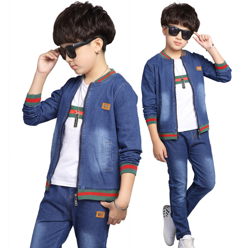 2018 new spring and autumn baby boy denim clothes set children's Baseball collar coat+jean trousers body suit for boys kids jean стоимость