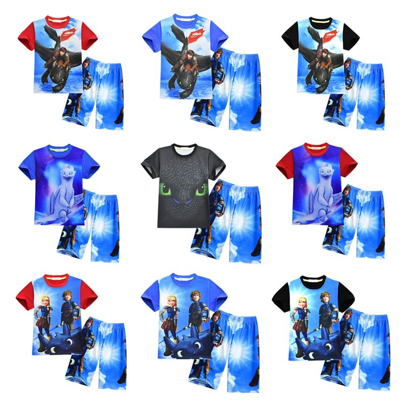 2018 New How To Train Your Dragon T-shirts with Pants Kid Summer Clothes Casual Baby Children Clothing Set Cartoon Child Suits