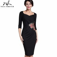Nice Forever Vintage Applique Flower Embroidery Sweat Heart Neck Office Dress Bodycon Female 3 4 Sleeve