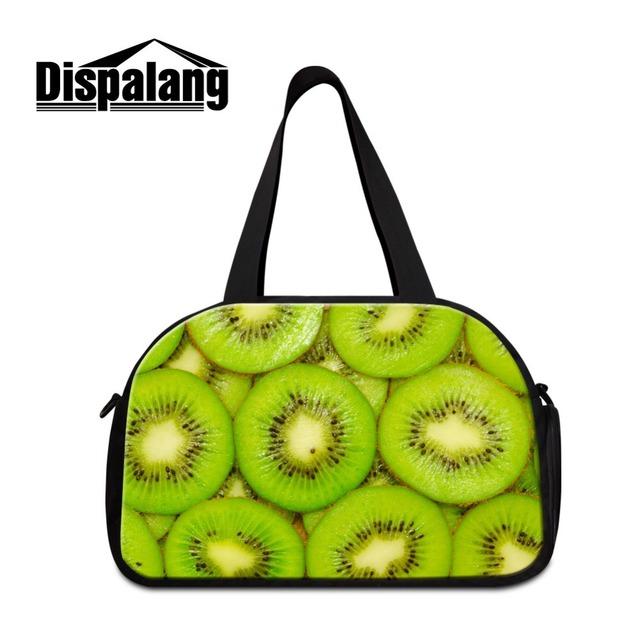 Dispalang tKiwi frutas 3D impressos personalizados sacos de viagem para as mulheres saco de vestuário saco do mensageiro grande ombro saco da bagagem para duffel
