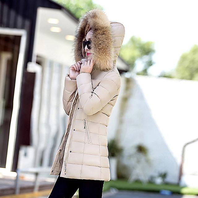 UHYTGFNew fur collar Plus size Women Winter Down cotton Coat Female outerwear Parka Ladies Warm Long Jacket jaqueta feminina 618