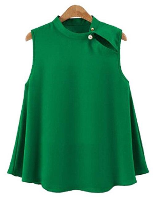 d1a91e827b0f4e Zmart Women's Chiffon Blouse Loose Fit Sleeveless Green Blouse Tops Casual  Office Work Wear Female Summer Camisa Vest