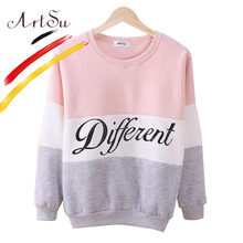 ArtSu 2017 Women's Casual Sweatshirt Autumn And Winter Women Fleeve Hoodies Printed Letters Different Hoody Sudaderas EPHO80027