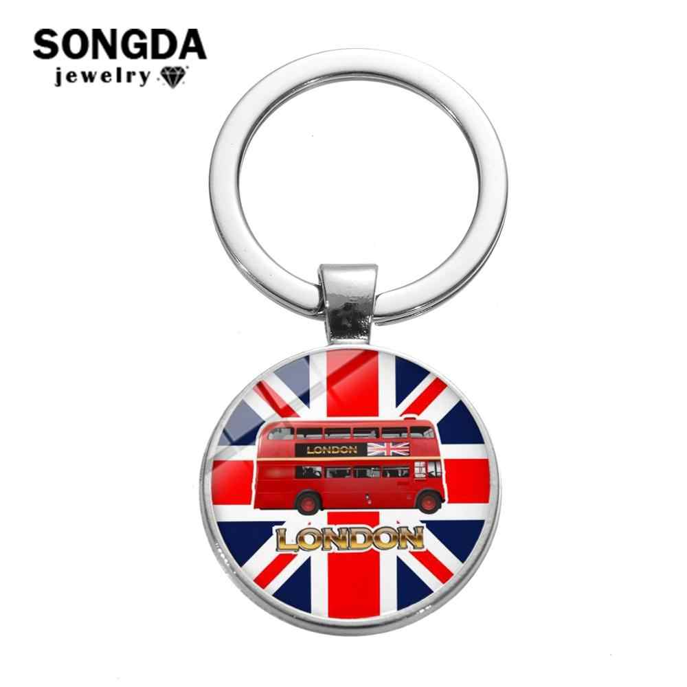 SONGDA London Double-decker Bus Charm Keychain Old-Fashion Hippie Sightseeing Bus Car Key Chain England Souvenirs Key Ring Gifts