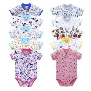Image 1 - 2020 Nhỏ Mới Q Nữ Tay Ngắn Một Mảnh Bodysuits 10 Cái/lốc Sơ Sinh Nguyên Chất 100% Cotton Quần Áo Bé Gái Mùa Hè Trẻ Em In Hình quần Áo