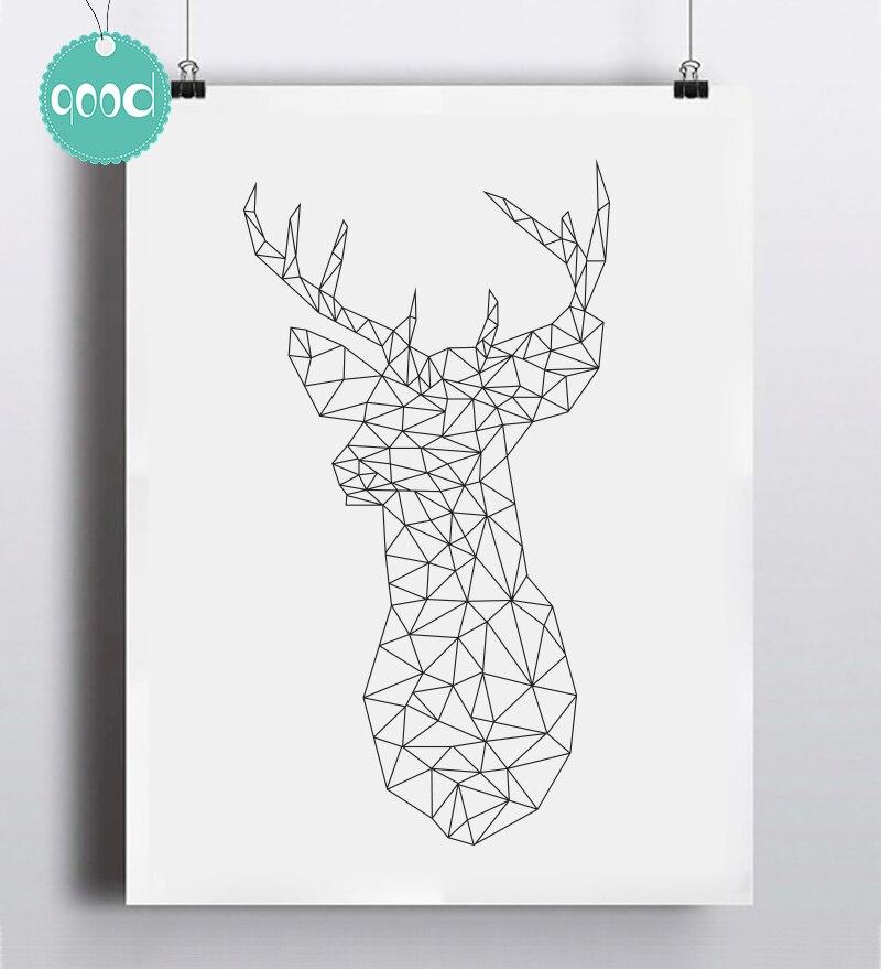 Geometric Purple Deer Wall Art Print Modern Poster Buck: Aliexpress.com : Buy Geometric Deer Head Canvas Art Print