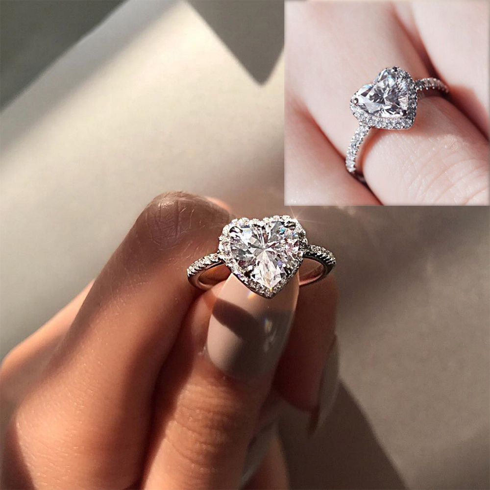 Ins Hot Sale White Crystal Heart Shaped Wedding Rings For