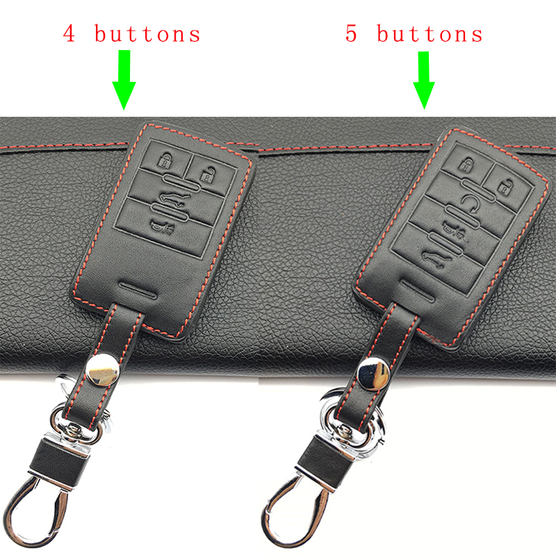 High Quality Car Leather Case Cover Remote FOB For Cadillac Escalade ATSL SRX XTS SLS CTS STS ATS 4 Buttons / 5 Buttons Key Bag