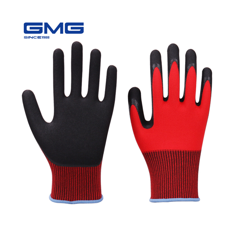 Security Work GMG Red Nylon Spandex Shell Black Nitrile Sandy Coating Safety Work Gloves Mechanic Glove