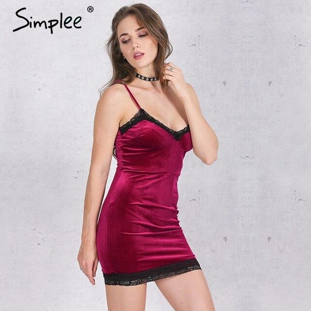 Simplee кружево Velvet dress женщин Сексуальный fringe bodycon dress Элегантный красный торжеств и вечеринок короткие платья 2016 vestidos