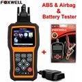 FOXWELL NT630 Motor ABS y SRS Airbag Reset Herramienta OBD2 Escáner Lector de Código de Datos En Vivo + Foxwell BT100 12 V coche de la Batería Probador Analizador