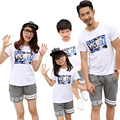 New summer cotton family look clothing sets Victory sports mother daughter Boys Girls family T shirts + Pants Outfits